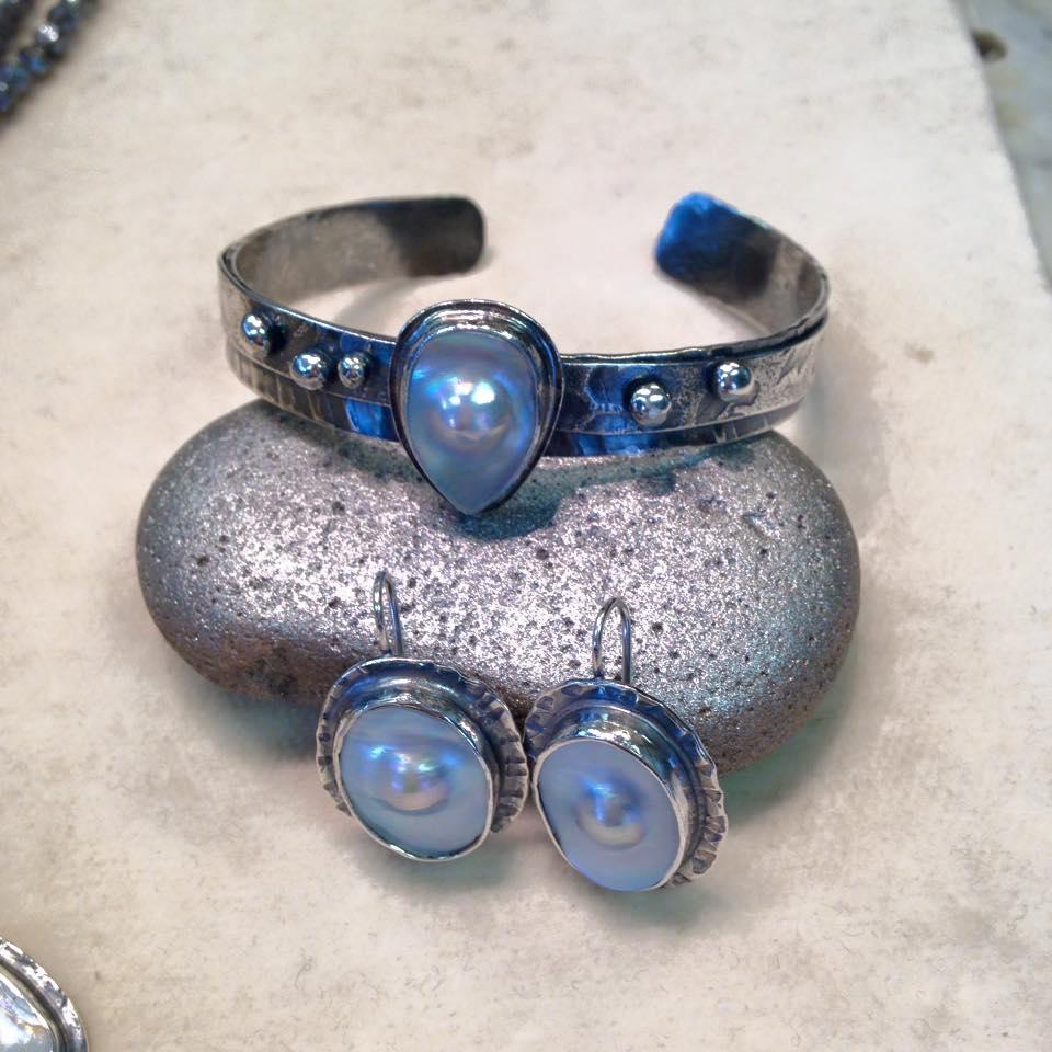 Pearl Cuff and Earrings