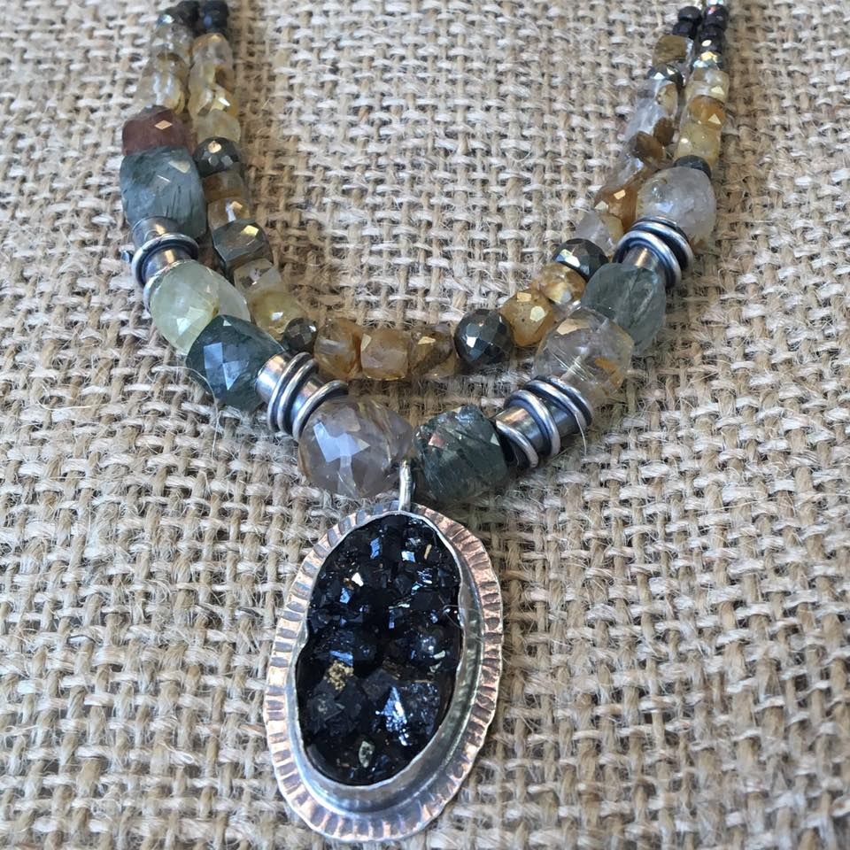 Golden Rudilated Quartz Necklace with Black Garnet Pendant