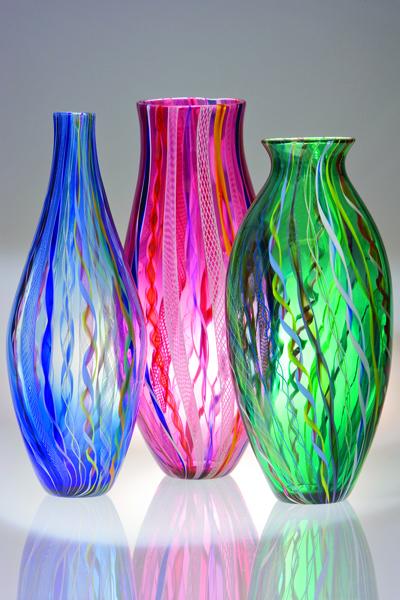 Large Cane Vases