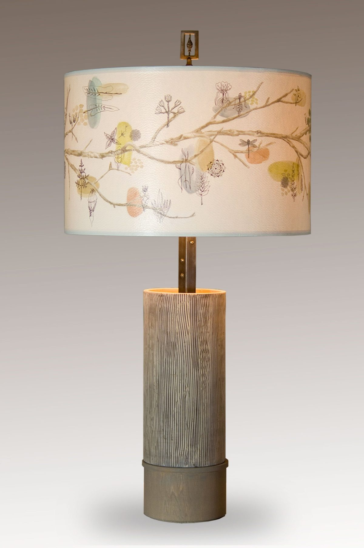 Artful Branch Ceramic and Wood Table Lamp