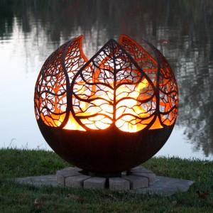 Autumn Sunset Leaf Fire Pit