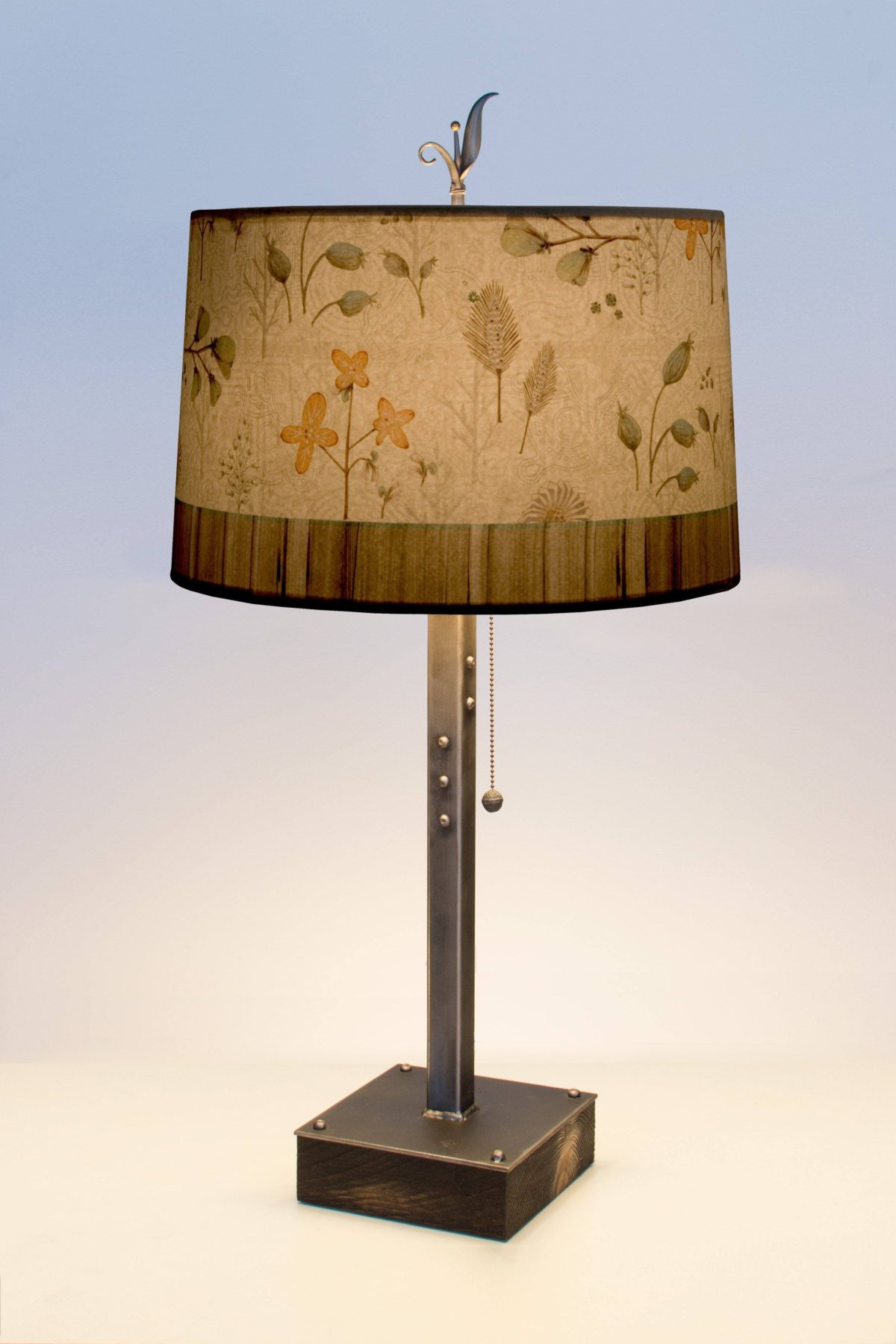 Flora and Maze Steel Table Lamp on Wood