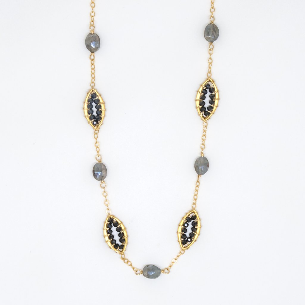Gray Sapphire Oval Necklace