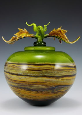 Lime Strata Covered Sphere with Avian Finial