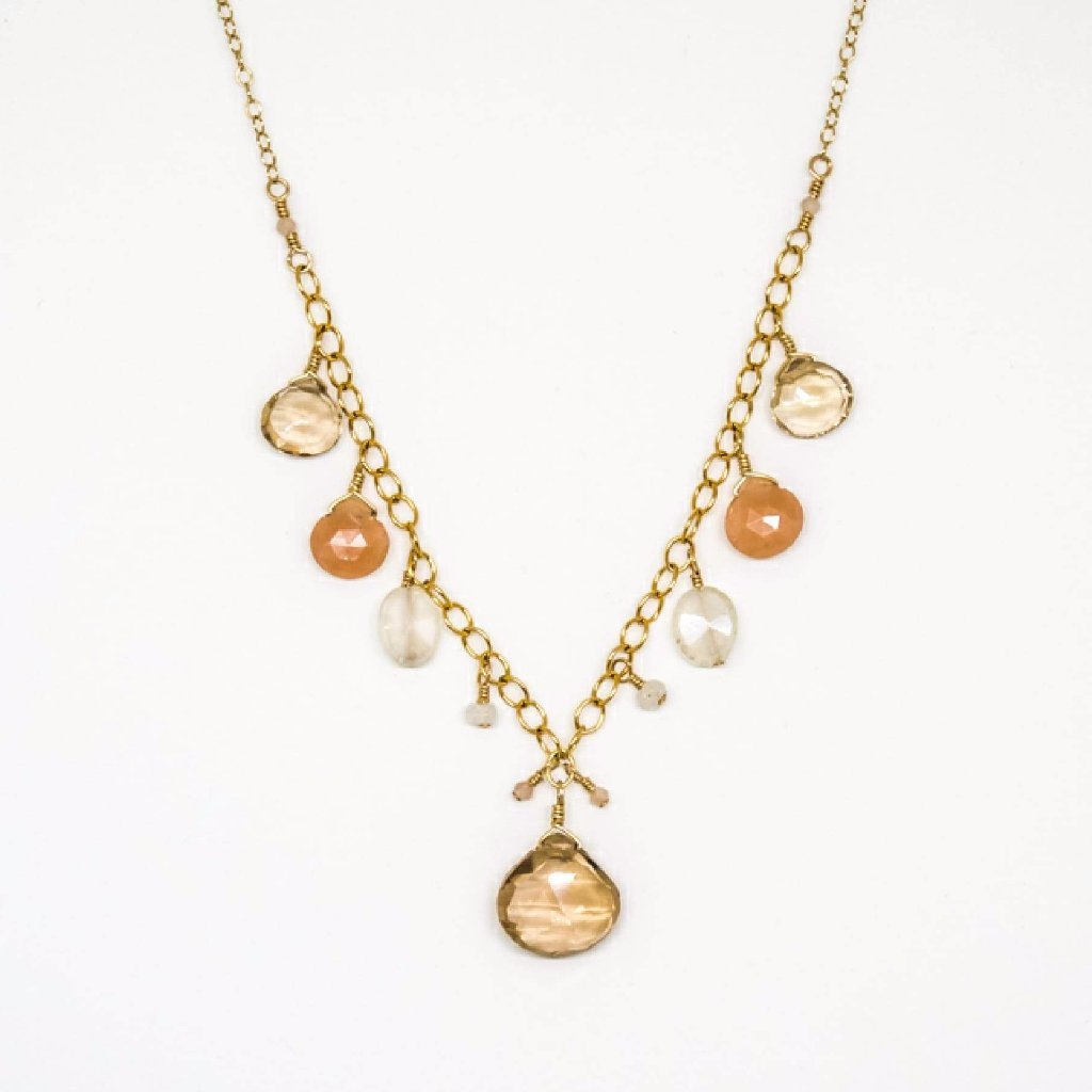 Multi Stone Drop Necklace