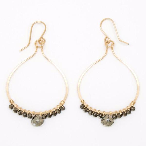 Pyrite Lotus Petal Earrings