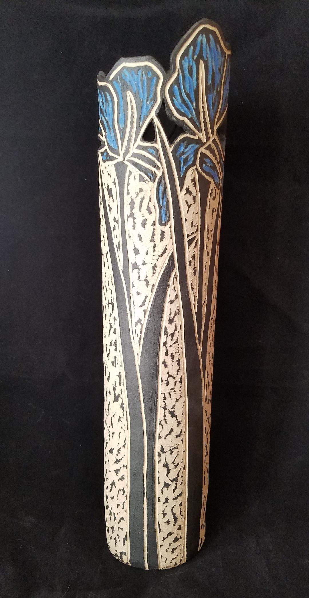Tall Blue Flower Vase