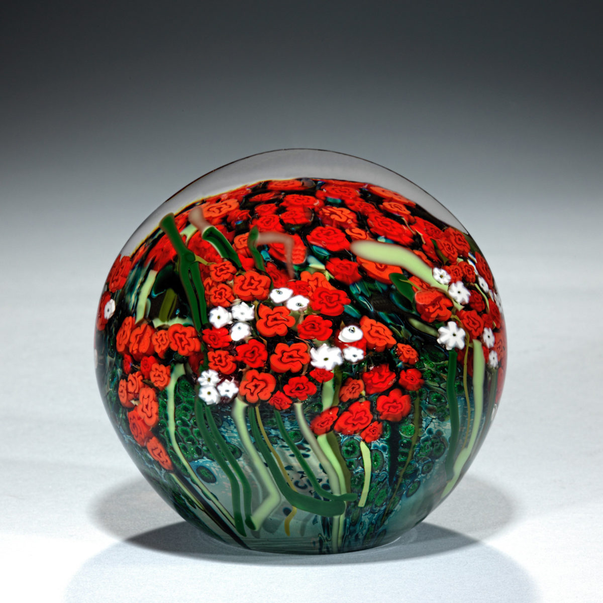 Large Red Roses and Babies Breath Paperweight