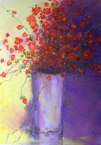 Orange Flower Purple Vase