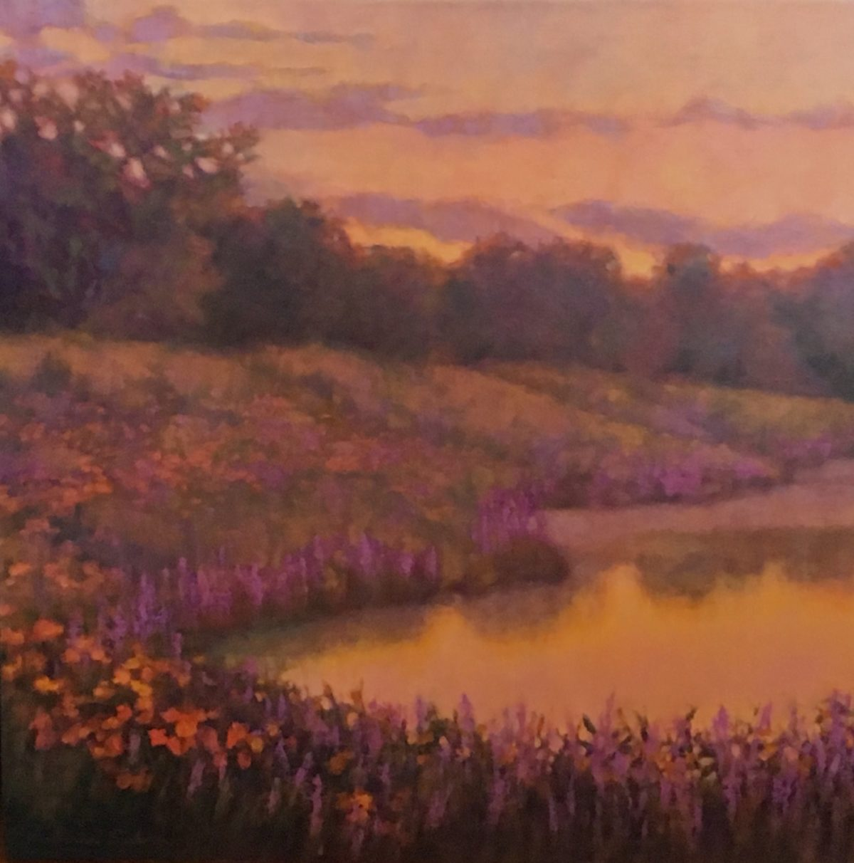 Evening Pond with Wildflowers