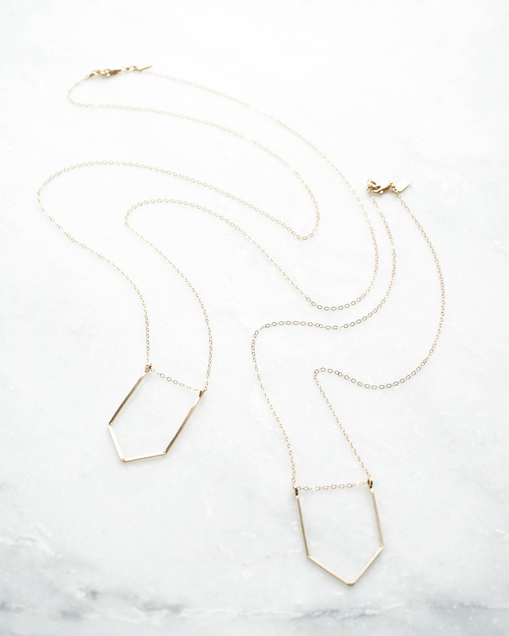 Hexagon Pendant Slider Long or Short Necklace