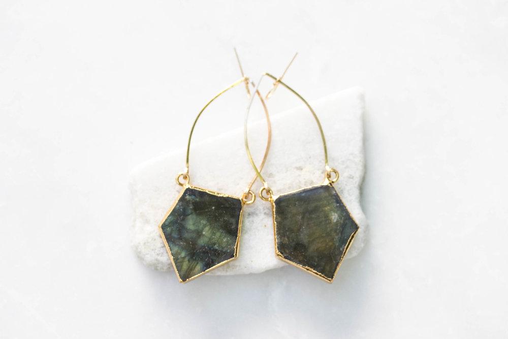 Labradorite Pentagon Prism Earrings