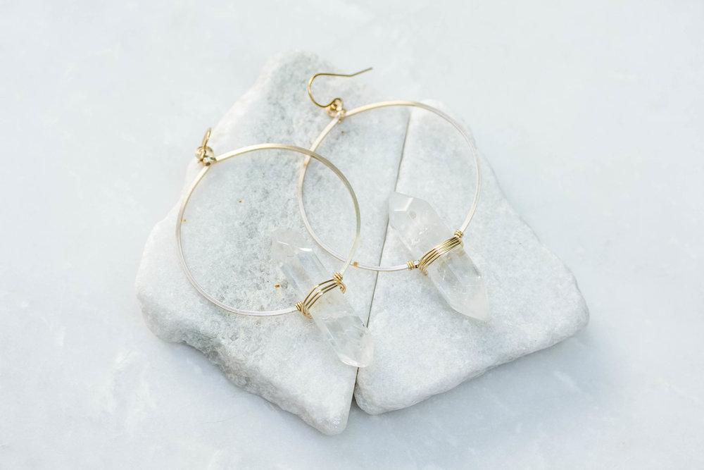 Rock Crystal Round Hoop Prism Earrings