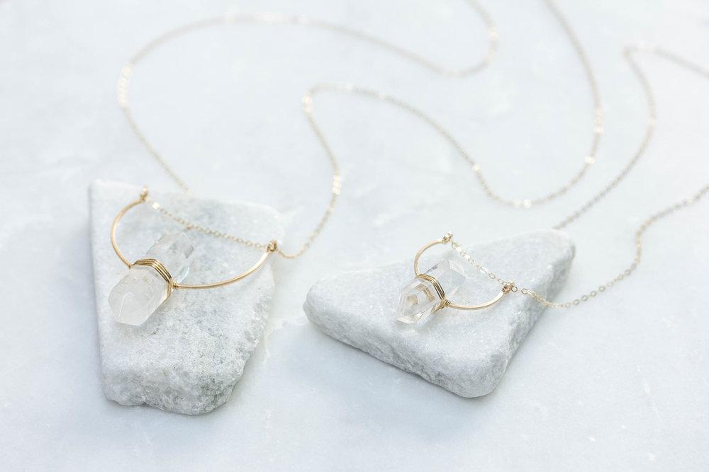 Rock Crystal Crescent Bar Necklace