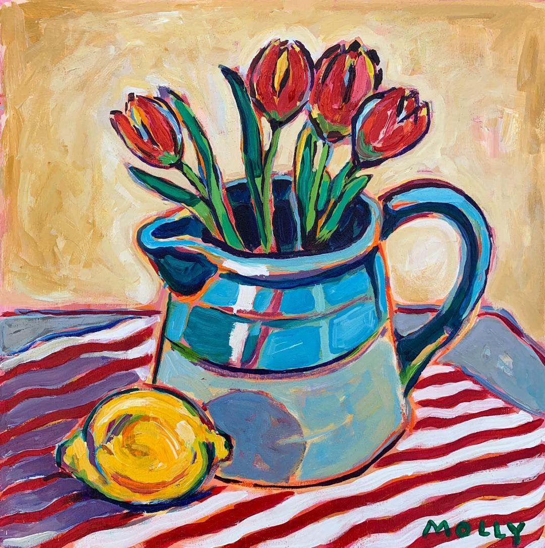 Pitcher, Tulips and Lemon