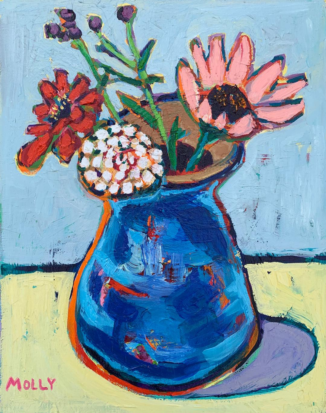 Zinnias and Lavender in Child's Vase