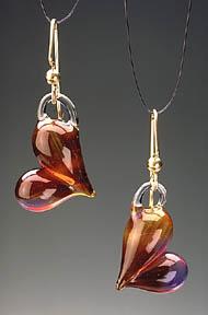 Amber Purple Hearts Earrings