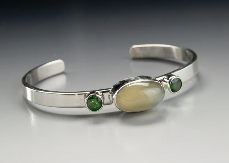Moonstone and Chrome Diopside Bracelet