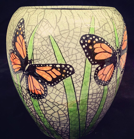 Butterflies and Leaves Vase